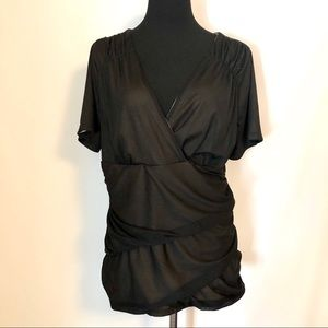 Maurices Lined Ruched Black V Neck Blouse